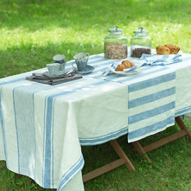 Philippe Runner, Napkins and Tuscany Tablecloth Blue