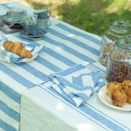 Tuscany Tablecloth Blue, Philippe Runner and Napkins Blue