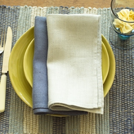 Lara Napkins French Blue, Silver & Placemat Blue Multicolour