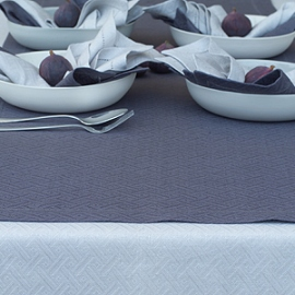 Rhomb Damask Tablecloth Silver, Runner Zinc & Napkins Silver and Zinc