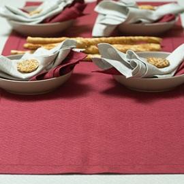 Rhomb Damask Burgundy Runner, Silver Tablecloth and Napkins Zinc & Burgundy