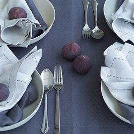 Rhomb Damask Tablecloth & Napkins Zinc