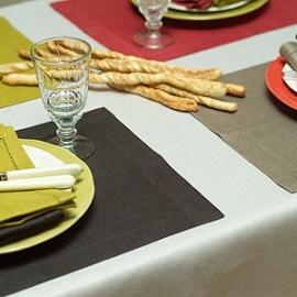 Emilia Tablecloth Sand and Placemats & Napkins Bark Citrine Mushroom Blood Orange