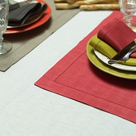 Emilia Platinum Tablecloth Placemats and Napkins Mushroom Citrine and Orange