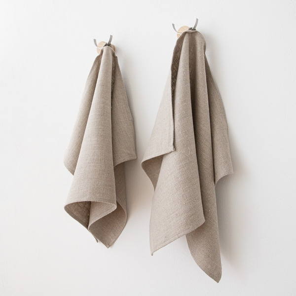 Hand Towels Meaning: Set Of 2 Natural Linen Hand And Guest Towels Lara