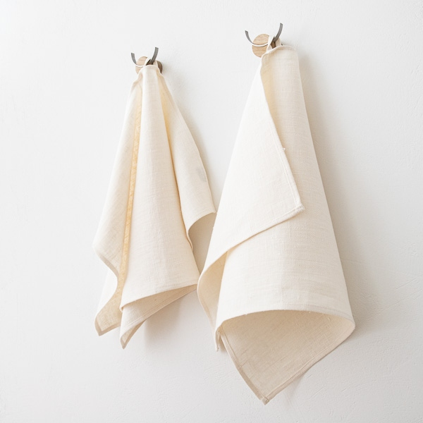 Hand Towels Meaning: Set Of 2 Cream Linen Hand And Guest Towels Lara- LinenMe