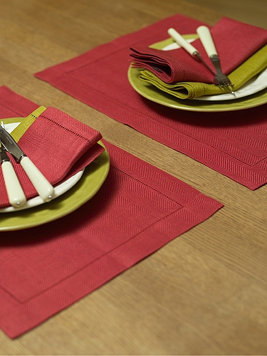 Placemat blood orange linen emilia linen placemats linenme - Set de table coton ...