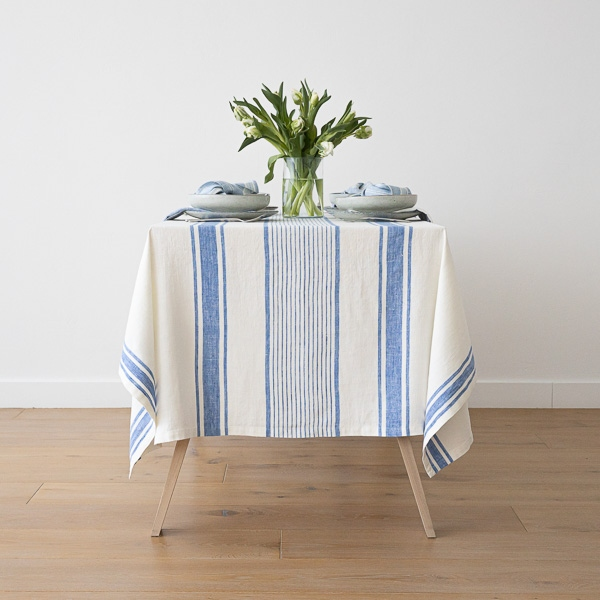 Blue Linen Tablecloth Tuscany