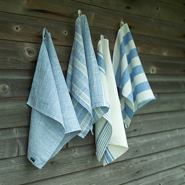 Hand Towels Meaning: X4 Hand Towels Blue Linen Striped