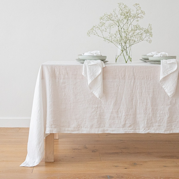 Stone Washed Linen Tablecloth Optical White ...