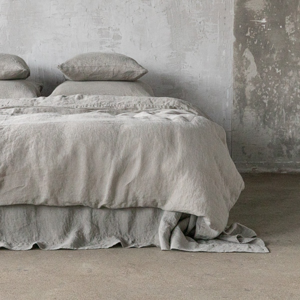 Taupe stone washed bed linen duvet for Housse de couette en lin