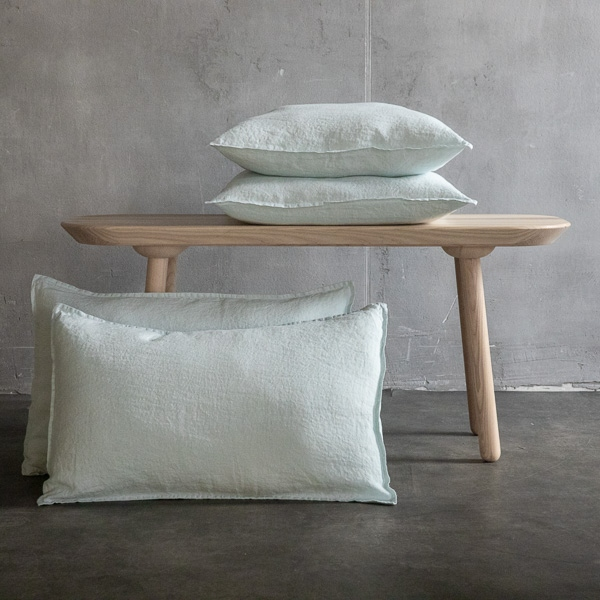 Ice Blue Linen Pillow Case Stone Washed