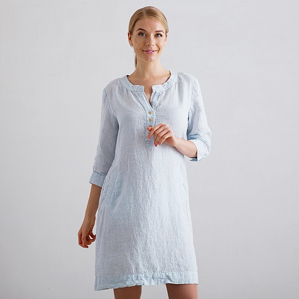 680ac13ab6620c Sky Blue Pinstripe Linen Dress Layla - LinenMe
