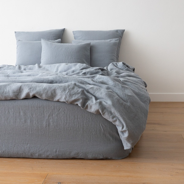 Washed Bed Linen Duvet Slate Blue Linenme