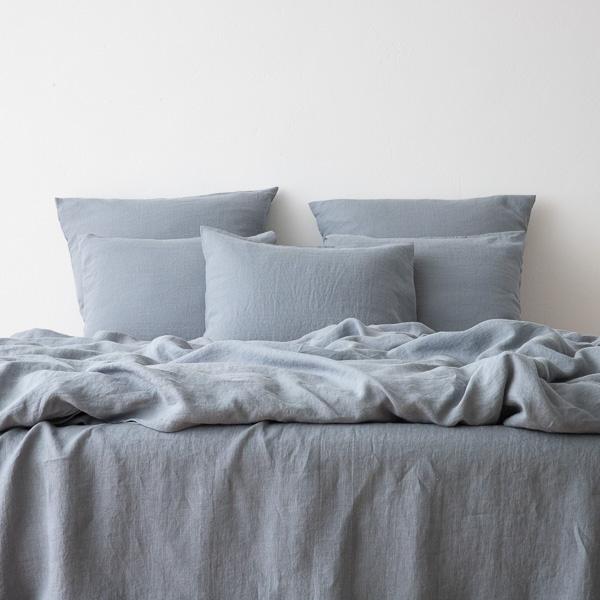 Washed Bed Linen Set Slate Blue Bedlinen Sets Linenme