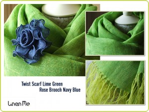 Hand Woven Linen Scarf and Rose Brooch