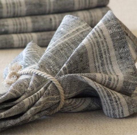 black multistripe linen napkins