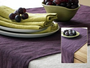 lara aubergine table linen
