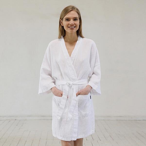 LinenMe Linen Bath Robe White
