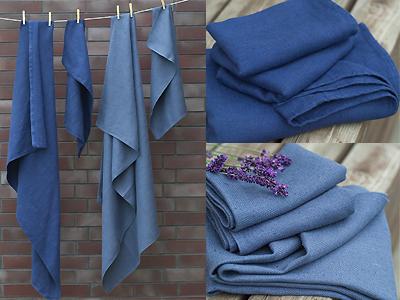 linen towels deep blue