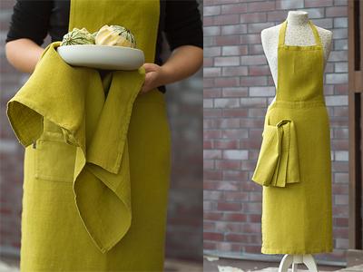 linen apron citrine yellow - linenme