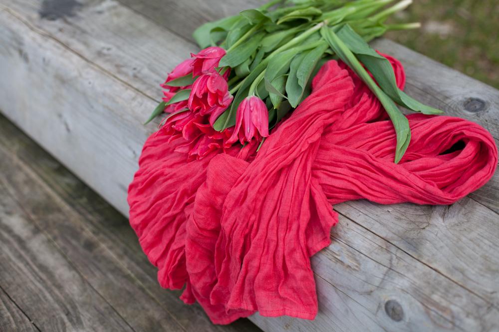Rust linen scarf - LinenMe