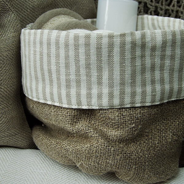 BEIGE NATURAL LINEN COTTON BASKET JAZZ - LinenMe