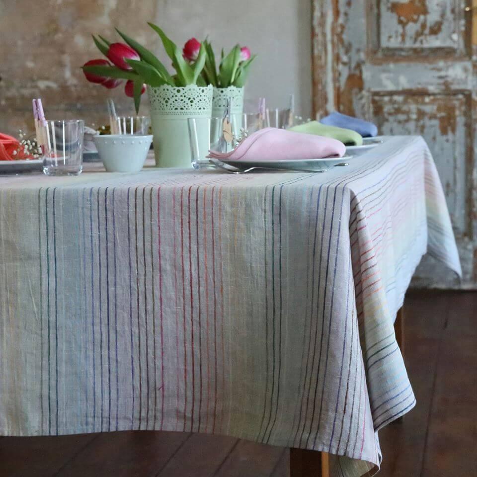 Linen Tablecloth Rainbow