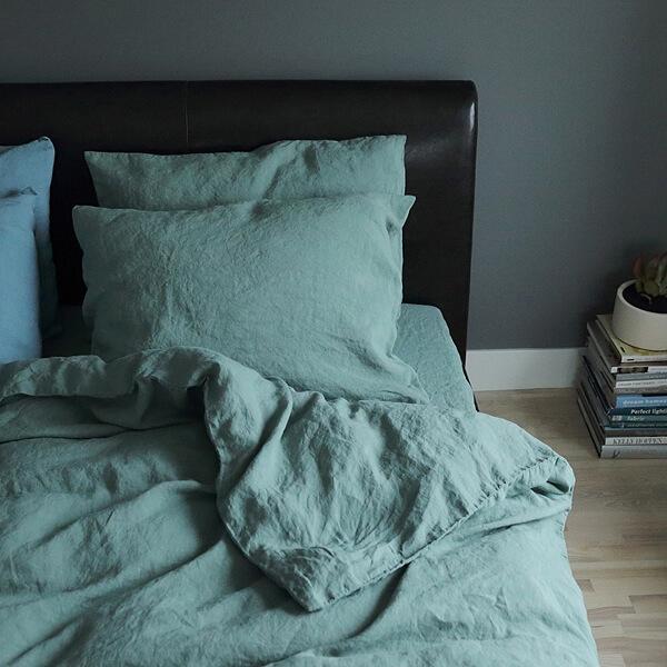 Grønt sengelinned - LinenMe