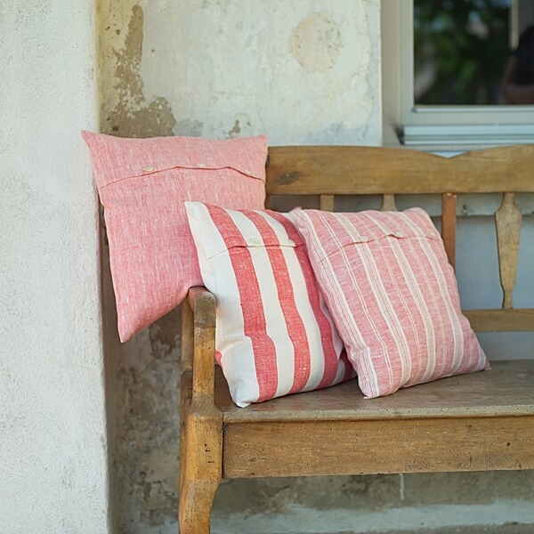 red linen cushion covers