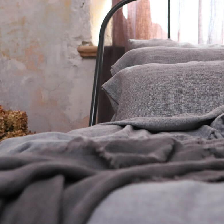 grey herringbone - linen bedlinen - LinenMe