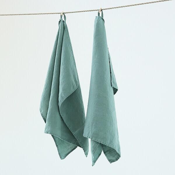 linen tea towels kitchen makeover