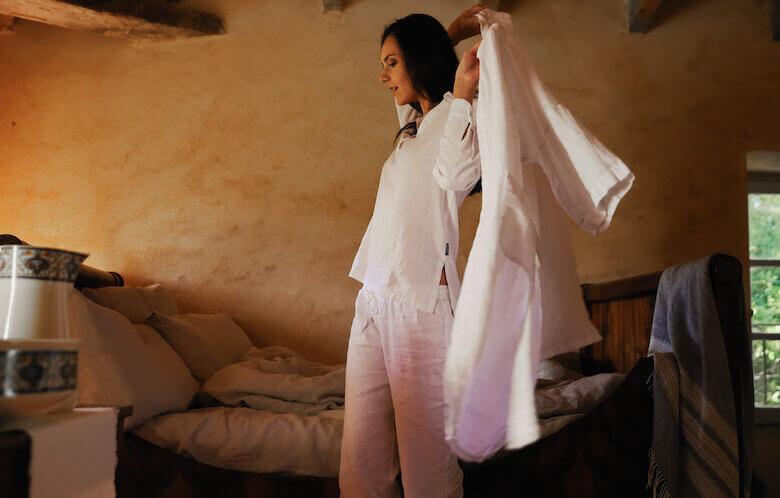 linen pyjamas linen robe - linen essentials