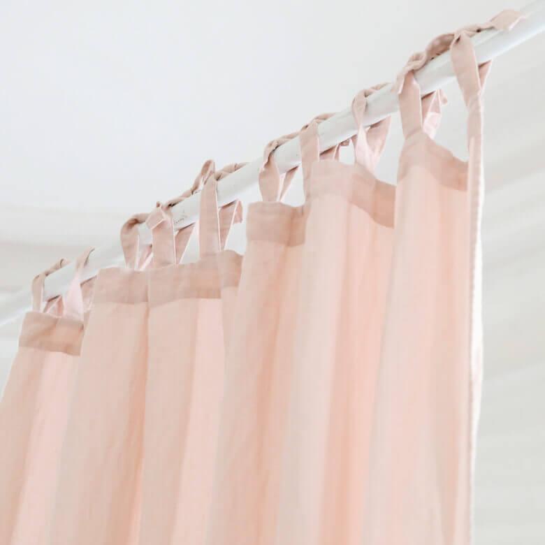 pink linen curtain drape - LinenMe