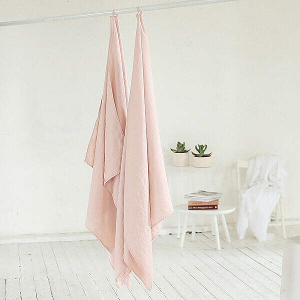 pink linen bath towels - LinenMe
