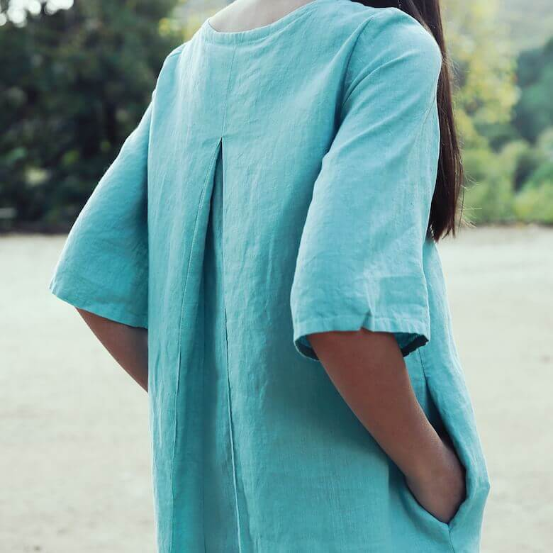 linen dress aqua - Linen Dresses - LinenMe