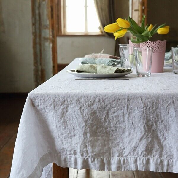 white linens tablecloth summer