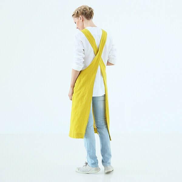 yellow linen apron - LinenMe