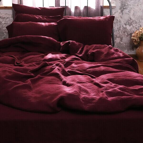 linen bedlinen for fall autumn - linen colours