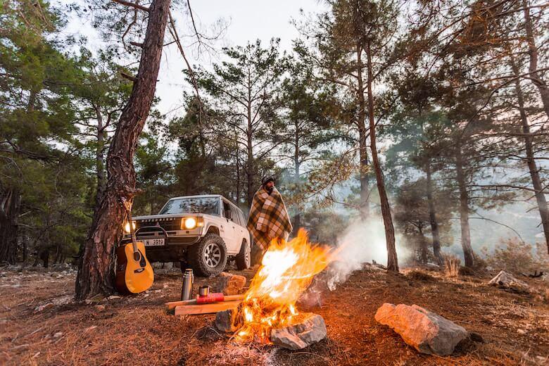 camping wool throw