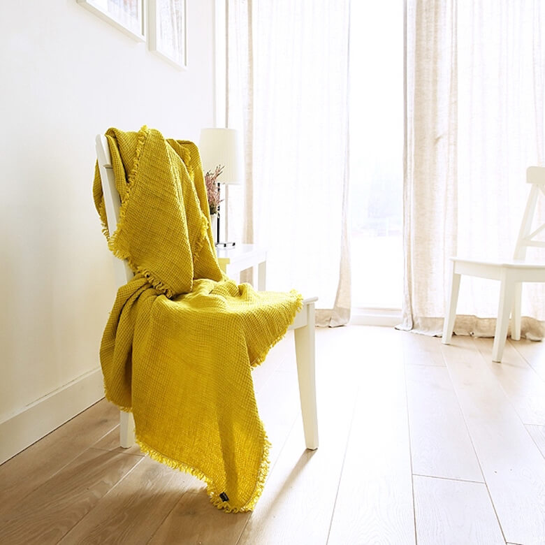 linen throw summer yellow