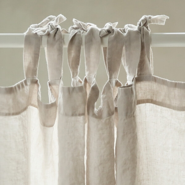 linen curtains tie top