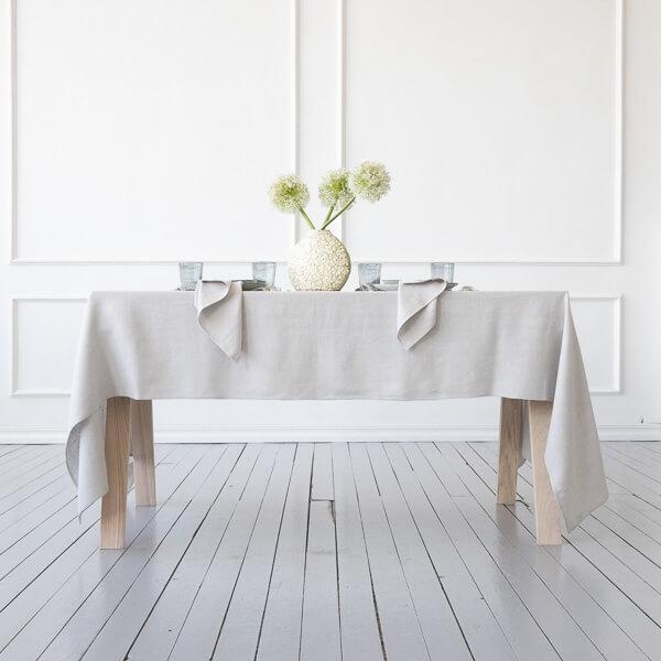 using a linen tablecloth