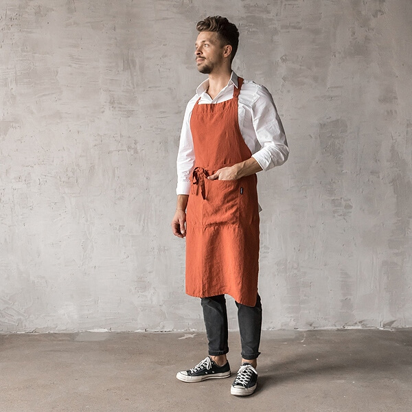 men's linen apron