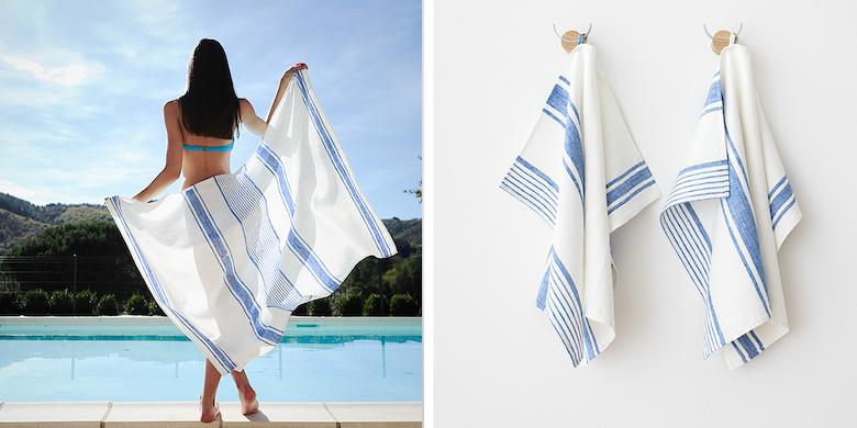 Huckaback as beach and tea towel