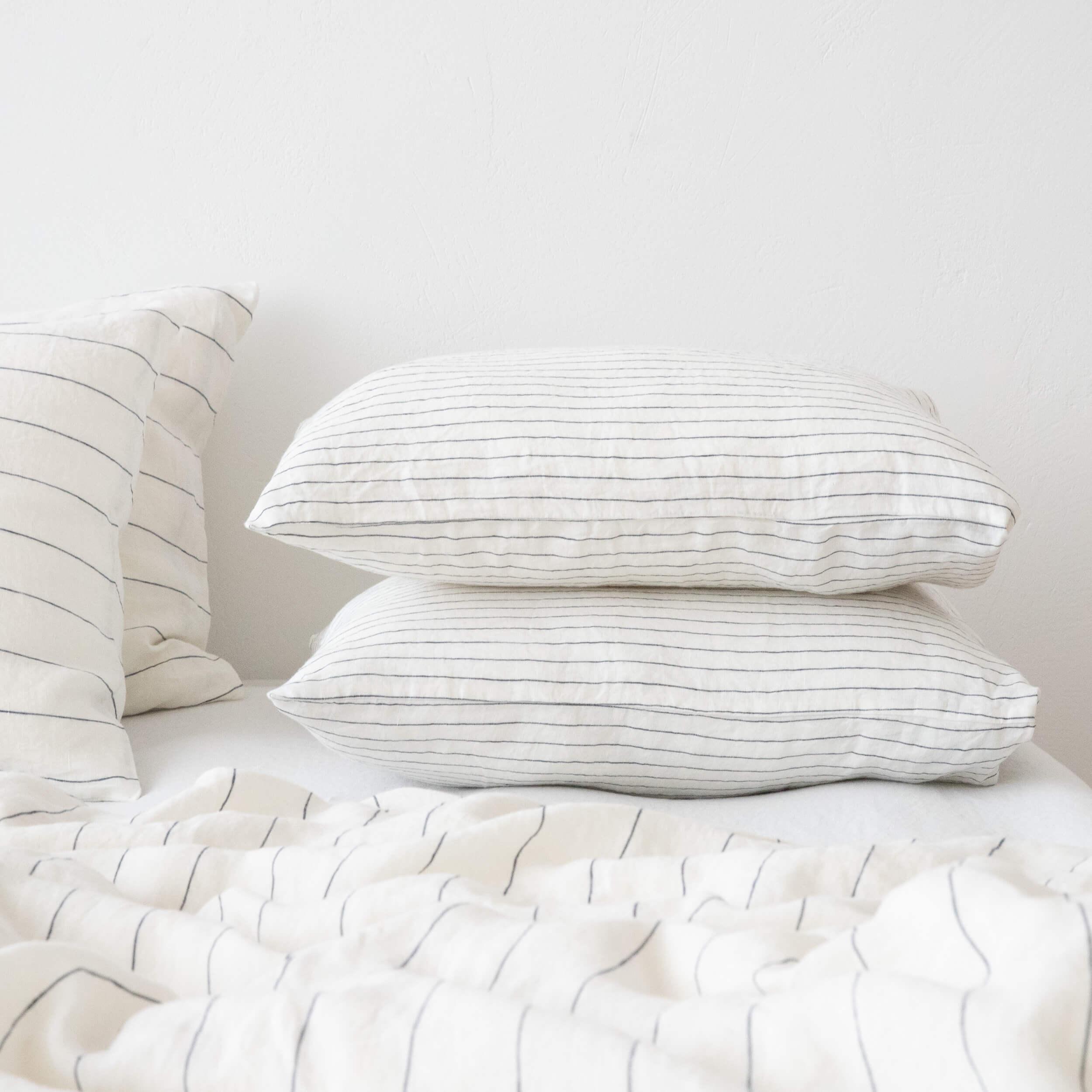 patterned linen bedding