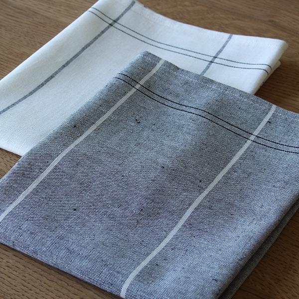 pair of tea dish towels 47x70cm linen cotton white grey ebay. Black Bedroom Furniture Sets. Home Design Ideas